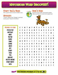 Help Scooby discover the words in this word search! Print or repin for you and others to try and solve this mystery word search!