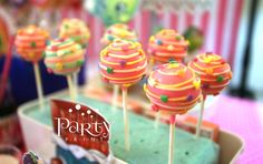 Swirly cake pops at a Shopkins birthday party! See more party ideas at CatchMyParty.com!