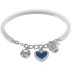 Juicy Couture Crown & Heart Charm Cuff Bracelet ($18) ❤ liked on Polyvore featuring jewelry, bracelets, blue, cuff bracelet, clear cuff bracelet, lobster claw charms, cuff bangle and charm jewelry