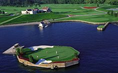 The 14th green at the Coeur D'Alene Resort in Idaho sports a floating par-3.
