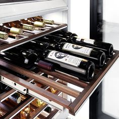 The fully integrated Miele wine refrigerator has three unique cooling zones with independent controls permitting you to store or temper champagne, white and red wines Read Wine Cellar Modern, Rustic Wine Racks, Wine Rack Storage, Wine Rack Cabinet, Storage Shelves, Wine Refrigerator, Wine Fridge, Wine Rack Design, Home Wine Cellars