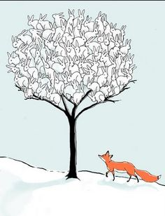 Jacquiescence - rabbits fox tree illustration