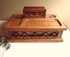 Men's Dresser Valet With Drawer, Deluxe Wood Dresser Caddy