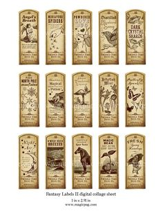 Fantasy Magic Potion Labels II digital collage sheet 15 labels for decoupage witches brew supplies a Halloween Potions, Halloween Bottles, Halloween Apothecary, Halloween Labels, Holidays Halloween, Halloween Crafts, Creepy Halloween, Vintage Printable, Vintage Labels