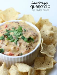 Hamburger Queso Dip with Rotel! A delicious appetizer and snack recipe.