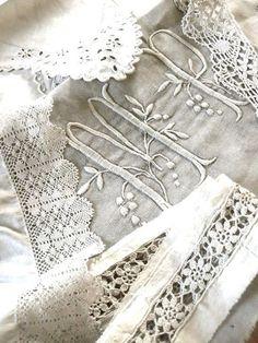 vintage linens, lovely monogram