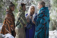 Letitia Wright, Lupita Nyong'o and Angela Bassett in Black Panther.