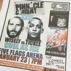 #WiselyVsTickle! Who is ready for Pinnacle Combat NEXT Saturday January 23rd?! @combatcaptain the #FiveFlagsCenter has some legendary events coming up! @365ink #Iowa #Dubuque #Madison #Davenport #Bettendorf #CedarRapids #IowaCity #PinnacleCombat #MMA