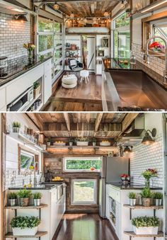 The Alpha tiny house kitchen is built on a platform with a custom 8 person dining table that folded away underneath! The kitchen has a farm sink, granite countertops, and storage shelves that swivel down from the ceiling.