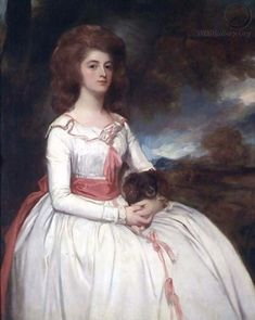 Miss Moody by Romney, 1780s This deep pink is beautiful - and look at her precious little dog!