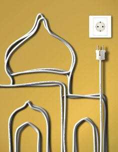 wall art with electrical cords. to do with long cords.