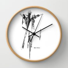 Abstract Series I Wall Clock by Rafael Salazar - $30.00 Black and White - Artist from Colombia  Strong and Emotional Sketches in this new Collection mark the end of the 2013 year with Artistic Fireworks.  Black brushstrokes with precise accuracy portray Energy and Balance. Movement and Fluidity make these series a great addition to any decor.  Hang it on Canvas, Metal or Art Print  Copyright 2013  All images provided for demonstration purposes only cannot be reproduced without permission.