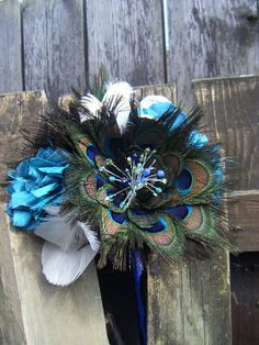 Peacock Feather Wedding Bridal Bouquet Handmade Flowers.