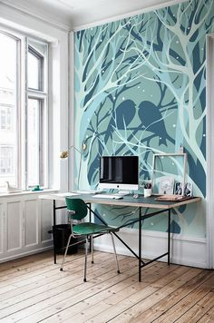 Wall Murals for Winter with Some Exposed Themes: Forest Wall Mural Applied To Give Natural View In Home Office Completing Outside View Prese...
