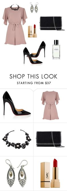 """""""Untitled #1215"""" by mariafilomena471 ❤ liked on Polyvore featuring Christian Louboutin, River Island, Valentino, STELLA McCARTNEY, NOVICA and Yves Saint Laurent"""