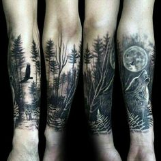 56d037c4ef5a6 100 Forest Tattoo Designs For Men – Masculine Tree Ink Ideas Wolf Howling  At The Moon Male Forest Tattoo Sleeve On Forearms