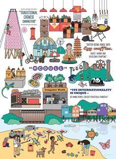 Illustration: 200 reasons to love Hong Kong Hong Kong Night, Hong Kong Art, Building Drawing, Leaflet Design, Cartoon Pics, Illustrations And Posters, Book Design, Diy Design, Painting For Kids