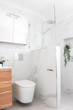 Small Bathroom, Marble Bathroom, Shower Screen On Wall, Small Screen On Shower Wall, Fixed Panel Above Wall, Frameless Small Fixed Panel, Wall Hung Toilet, Floating Toilet, Bathroom Shelf, Walk In Shower, Open Shower, Bathroom Renovation High Wycombe, OTB Bathrooms Floating Toilet, Tiny House Inspiration, Small Bathroom Renovations, Wall Hung Toilet, Open Showers, Bathroom Renovation, Bathroom Decor, Shower Wall, Bathroom