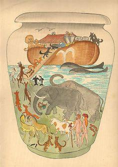 ..ORIGINAL SKETCH GOUACHE PORCELAIN MANUFACTURE ART DECO 1930s NOE NOAH ARK