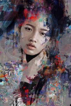 Saatchi Art is pleased to offer the painting asian look by yossi kotler available for purchase at 2 000 USD Original Painting Canvas on Acrylic Ink Digital Paint Color Size is 47 2 H x 31 5 W x 2 in Abstract Portrait Painting, Acrylic Painting Canvas, Portrait Art, Figure Painting, Abstract Art, Portrait Paintings, Human Painting, Abstract Digital Art, Digital Paintings