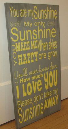 You are My Sunshine Sign by ChestnutandLime on Etsy