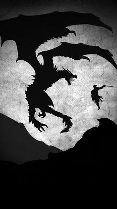 Skyrim Dragon Illustration Art Bw #iPhone #6 #wallpaper