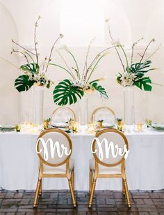 Mr Mrs chair signs. Wedding chair signs. Gold or silver chair signs. by LovelyWeddingDay on Etsy https://www.etsy.com/listing/484734187/mr-mrs-chair-signs-wedding-chair-signs