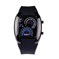 05d23971d38 Coromose Black Aviation Turbo Dial Flash LED Sports Watch Car Meter Review  Fashion Watches