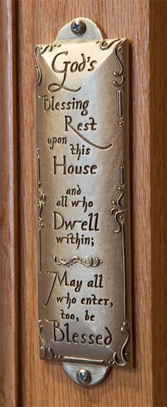 House blessing plaque; buy here: http://www.catalogclassics.com/classics/House-Warming_1JG/Item_House-Blessing-Plaque_VF9072.html