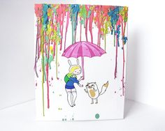 Fionna and Cake Adventure Time Inspired Painting by MayhemHere