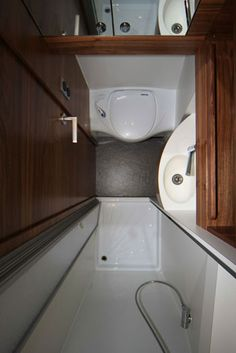 Small Rv Bathroom & Toilet Remodel Ideas 31 image is part of 80 Wonderful Small RV Bathroom and Toilet Remodel Ideas gallery, you can read and see another amazing image 80 Wonderful Small RV Bathroom and Toilet Remodel Ideas on website Tiny Bathrooms, Tiny House Bathroom, Bathroom Toilets, Bathroom Showers, Bathroom Small, Sprinter Van, Mercedes Sprinter Camper, Douche Camping Car, Truck Camping