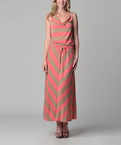 Take a look at this Christine V Pink & Beige Chevron Maxi Dress on zulily today!