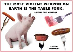 The most violent weapon on earth is a fork....Time to EVOLVE, folks! Moving forward in peace, health & happiness!
