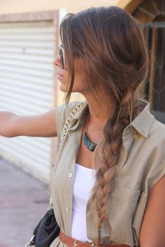 side braids and deep brown softening to light brown hair