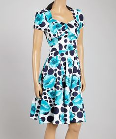 Another great find on #zulily! White & Blue Floral Big Dot Sweetheart Dress by HEARTS & ROSES LONDON #zulilyfinds