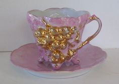 Exquisite Pink and Gold Lusterware Teacup and Saucer,Gold Grapes,Porcelain,Victorian Luster
