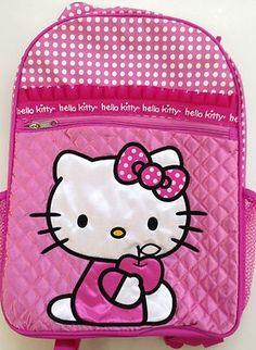 "Large Hello Kitty Backpack book bag bookbag school sack 16"" fluff"