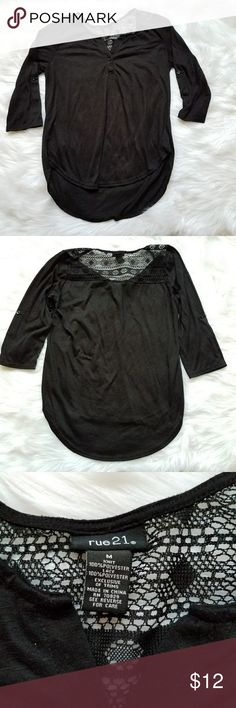 Rue 21 Henley top Black button front 3/4 sleeve Henley top from rue 21, sleeves can be rolled up and buttoned to be elbow length Rue 21 Tops Blouses
