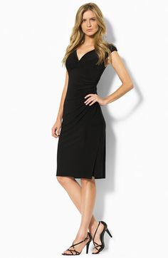 Like the dress luv the shoes    Lauren Ralph Lauren Faux Wrap Jersey Dress available at #Nordstrom