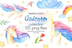 Unicorn Animal Numbers Clipart Set Personal and Limited Commercial Use Cute Number Clipart
