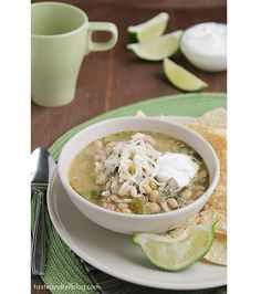 Slow Cooker White Turkey Chili from Taste and Tell via Slow Cooker from Scratch.