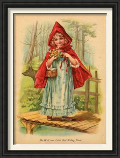 Little Red riding hood framed prints(A set of three)