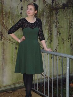 Christmas dress 2013 (Colette Patterns Macaron with lace)