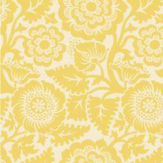 """Free Spirit; Joel Dewberry's Heirloom:  Blockprint Blossom in Dandelion \\\ $9 yard \\\ 44"""" Wide \\\ Quilting Weight"""