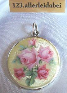 Emaille Medaillon 800 er Silber Anhänger tranzluzides Emaile um 1900 Rose Rosen | eBay