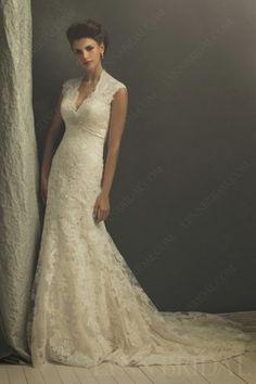Trumpet Queen Ann Neck Open Back Court Train Vintage Lace Wedding Dress