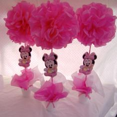 Centros de mesa de Minnie Mickey E Minnie Mouse, Minnie Mouse 1st Birthday, Minnie Mouse Baby Shower, Baby Birthday, Baby Shower Themes, Baby Boy Shower, Baby Shower Parties, Miki Mouse, Minnie Mouse Decorations