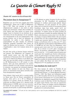 Gazette - 2014-2015 - Fédérale 2 - N° 162 - Page 1