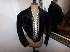 Victorian black silk velvet bolero jacket Antique French blouse w lace w embroidery 1800s gothic steampunk clothing vestment made in France by MyFrenchAntiqueShop on Etsy