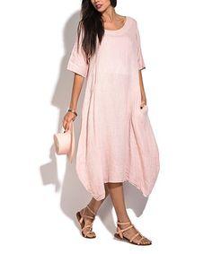 Pink Linen Sidetail Dress - Women #zulily #zulilyfinds